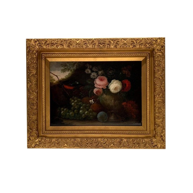 "19th Century Oil on Canvas, ""Flowers & Grapes"", Signed W. Beardoine For Sale"
