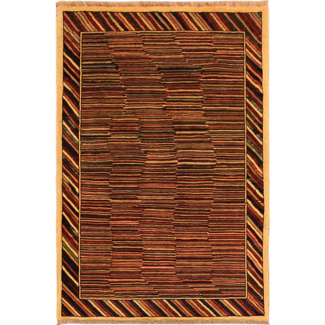 Tan Shabby Chic Gabbeh Peshawar Georgian Blue/Red Hand-Knotted Wool Rug -3'3 X 4'9 For Sale - Image 8 of 8