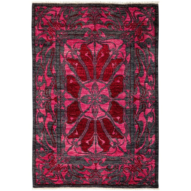 Contemporary Floral Black & Pink Hand Knotted Area Rug