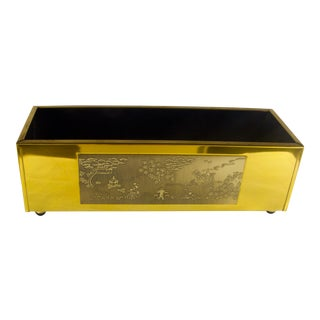 1950s Vintage Brass Chinoiserie Planter For Sale