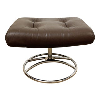 Mid-Century Danish Modern Ekornes Stressless Chrome Leather Ottoman