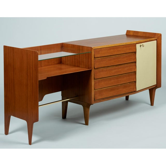 Mid-Century Modern Gio Ponti Exceptional Asymmetric Mahagony Cabinet For Sale - Image 3 of 10