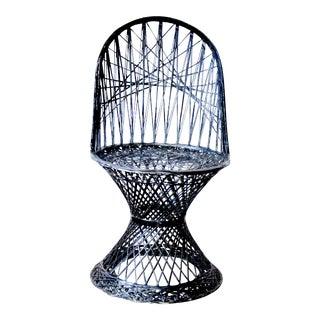 1950s Art Deco Russell Woodard Black Spun Fiber Glass Chair