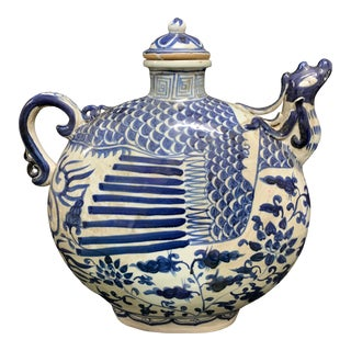 Mid 20th Century Chinese Art Porcelain Large Blue and White Teapot For Sale