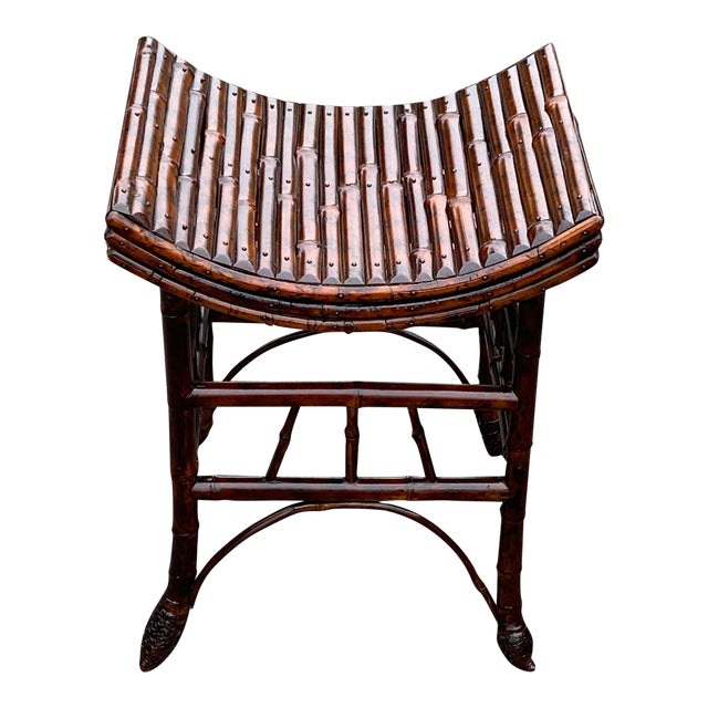 English Bamboo Bench or Stool With Faux Tortoise Finish For Sale