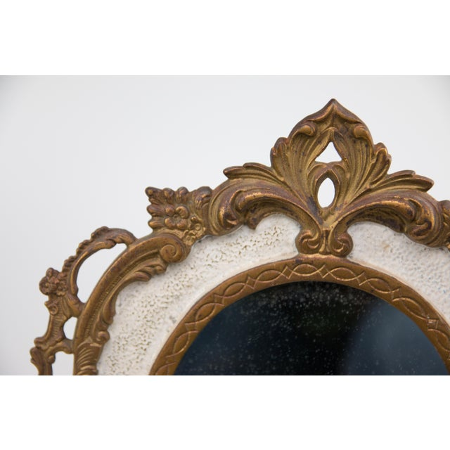 Art Nouveau Antique French Bronze Table Dressing Mirror For Sale - Image 3 of 5