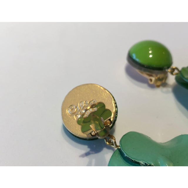 Cilea Green Poppy French Statement Earrings For Sale In Palm Springs - Image 6 of 11