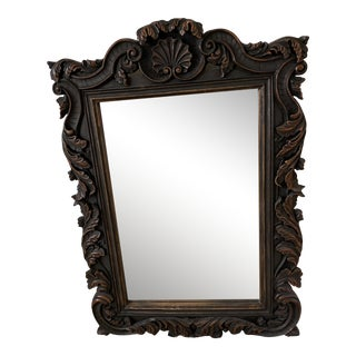 Large Carved Wood Wall Mirror For Sale