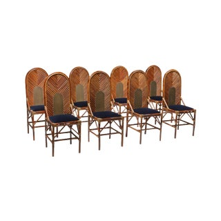 Vivai Del Sud Dining Chairs in Bamboo, Brass & Blue Velvet - 1970s For Sale