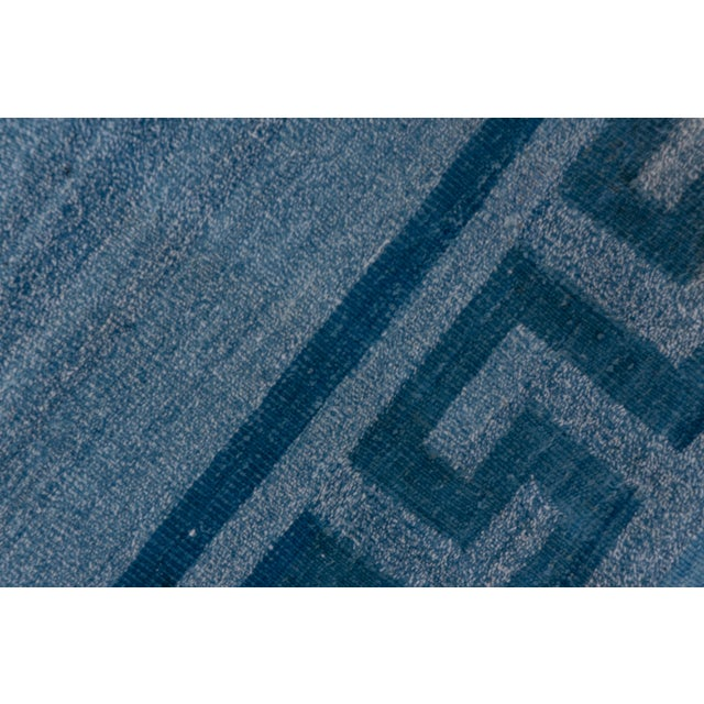 1960s Vintage Indian Dhurrie Blue Rug For Sale In New York - Image 6 of 8
