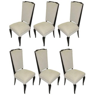 French Deco Dark Walnut Refinished Tall Back Dining Chairs - Set of 6 For Sale