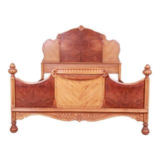 French Art Deco Carved Burled Walnut and Satinwood Full Size Bed, Circa 1930s For Sale