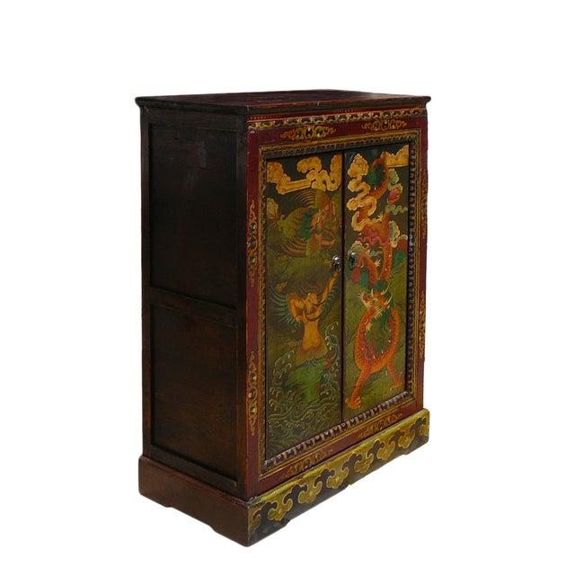 Chinese Tibetan Garuda Dragon Accent Table Cabinet - Image 2 of 4