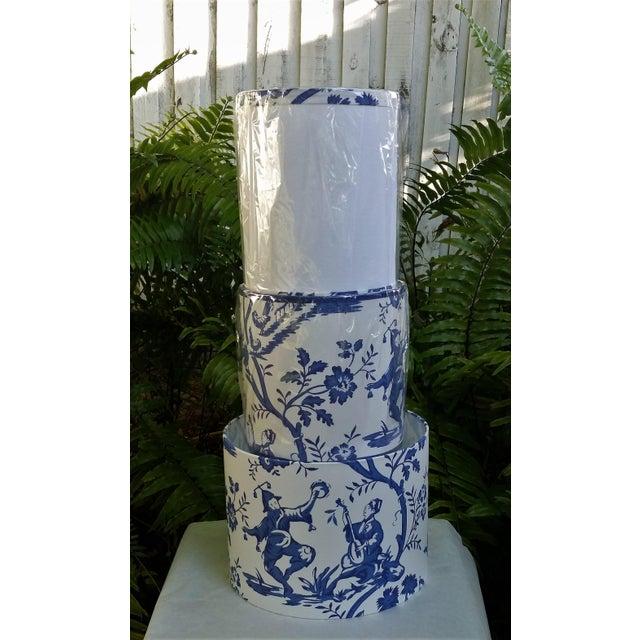 Cobalt Blue White Cotton Duralee Suri Fabric Drum Lampshade For Sale - Image 10 of 11