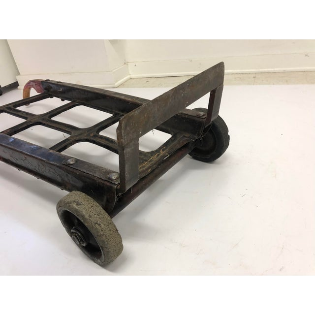 Vintage Industrial Factory Wood & Metal Dolly Cart For Sale - Image 10 of 13
