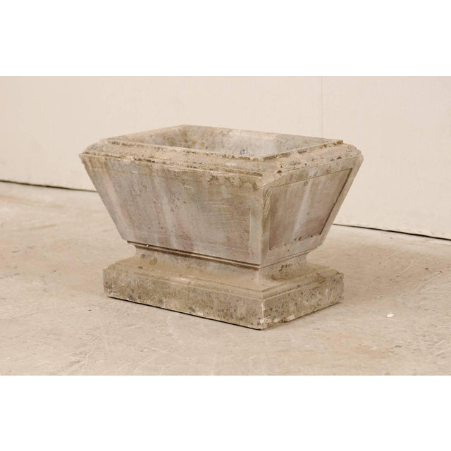 European Hand-Carved Rectangular Tapered Stone Planter For Sale In Atlanta - Image 6 of 8