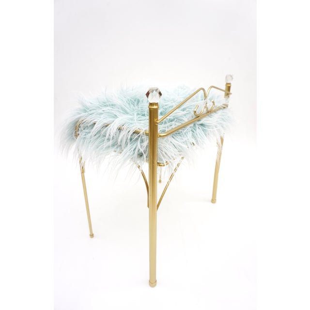 Vintage Vanity Bench | Gold Metal & Light Blue Faux Fur Boudoir Chair For Sale - Image 4 of 9
