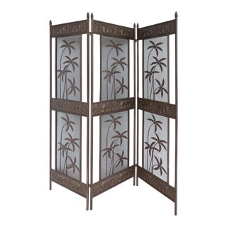 20th Century Hollywood Regency Elephant & Palm Tree Motif 3-Panel Screen Room Divider For Sale