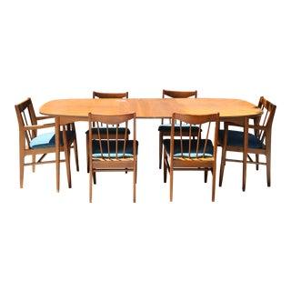 Vintage Walnut Wod MCM Dining Set - Set of 7 For Sale