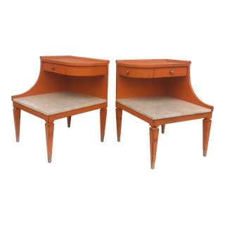 Vintage Marble Top Nightstands by Grosfeld House For Sale