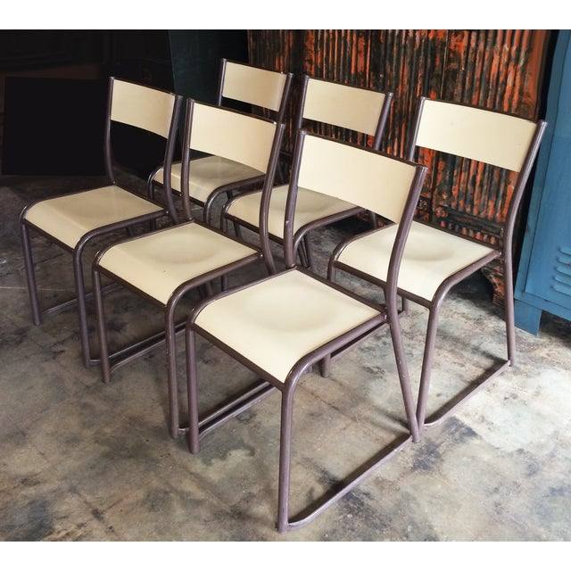 French Vintage Industrial Dining Chairs - Set of 6 - Image 2 of 10