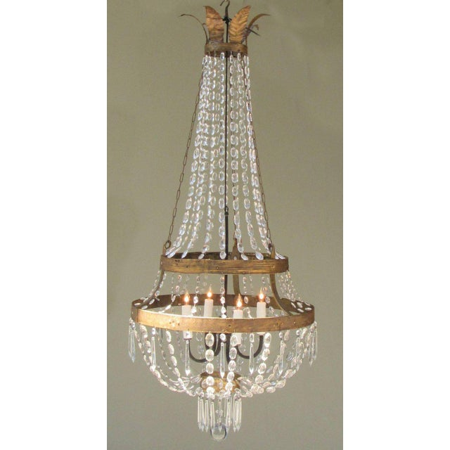 18th Century Italian Empire Iron, Crystal and Tole Basket Chandelier For Sale In Charleston - Image 6 of 7