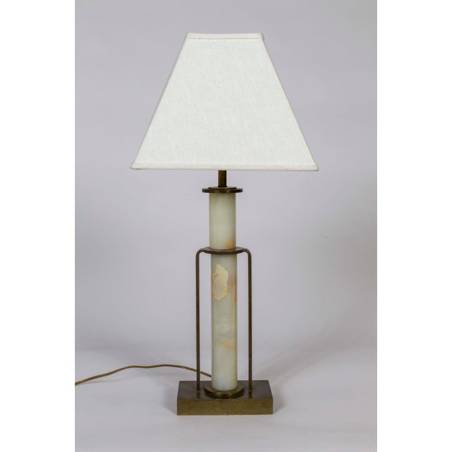 1940s Art Deco Marble and Brass Table Lamp For Sale - Image 5 of 10