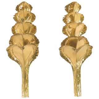 Large Pair of Brass Sconces by Maison Romeo, 1970s For Sale