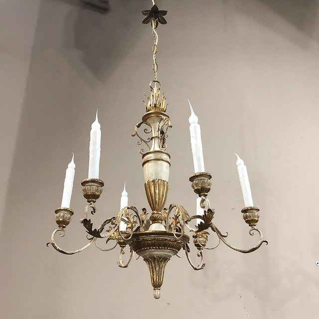 Antique Italian Hand Painted Wood and Iron Chandelier is perfect for adding Italian flair and color to your room, with...