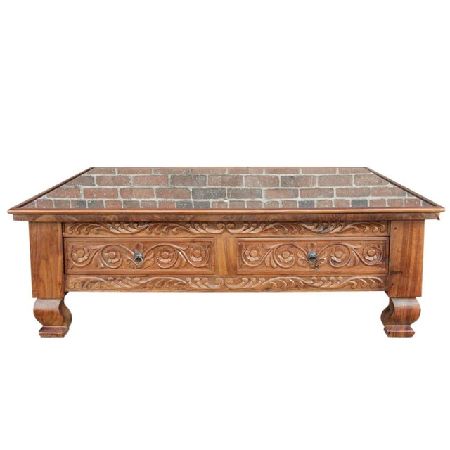Lotus Carved Glass Top Coffee Table - Image 4 of 5