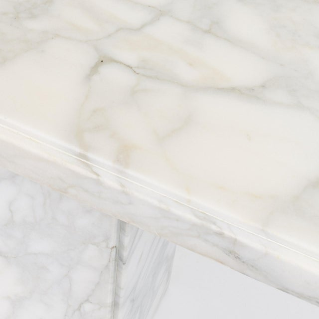 """Mid-Century Modern White Statuario Marble Console Table, 55.25"""" Long For Sale - Image 3 of 5"""