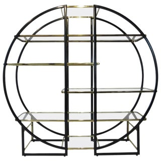 Pierre Cardin Styled French Brass and Glass Etagere
