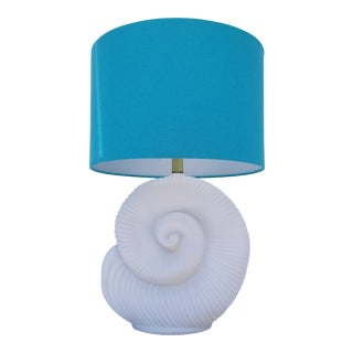 Hollywood Regency Style Nautilus Shell Plaster Lamp For Sale