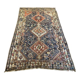 Early 20th Century Antique Persian Qahsqai Rug - 4′6″ × 7′6″ For Sale