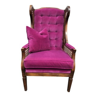 20th Century Hollywood Regency Tufted Orchid Velvet Wingback Armchair For Sale