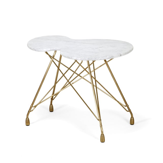Dughlas James Etoile Calabasse Bronze Side Table With Carrara Marble Top For Sale - Image 4 of 5