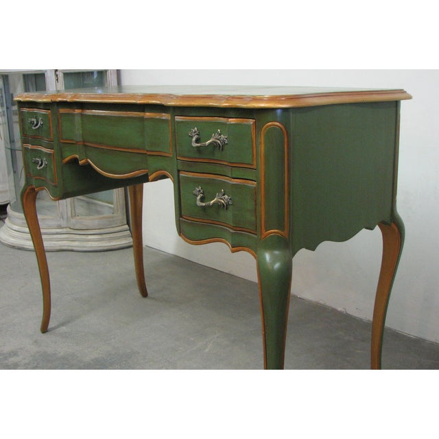 French Vintage French-Style Green & Gold Painted Writing Desk For Sale - Image 3 of 12