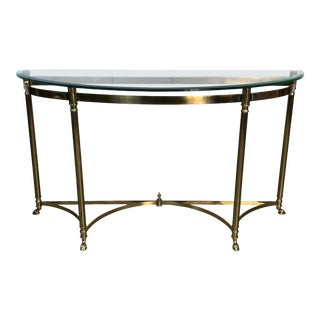 1960s Italian Paw Foot Demilune Brass & Glass Console Table For Sale