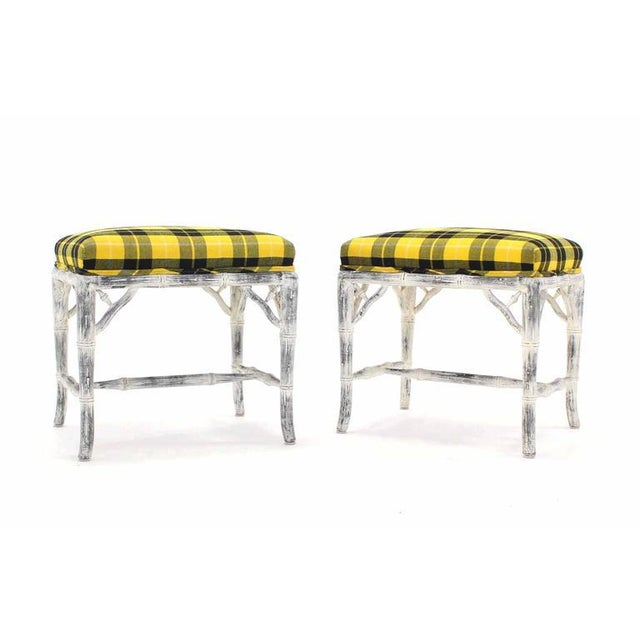 Pair of mid century modern white wash painted faux bamboo benches.