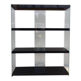Black Lucite & Glass Shelving Unit
