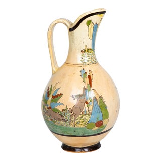 1950s Tlaquepaque Mexican Hand Painted Ceramic Water Pitcher For Sale