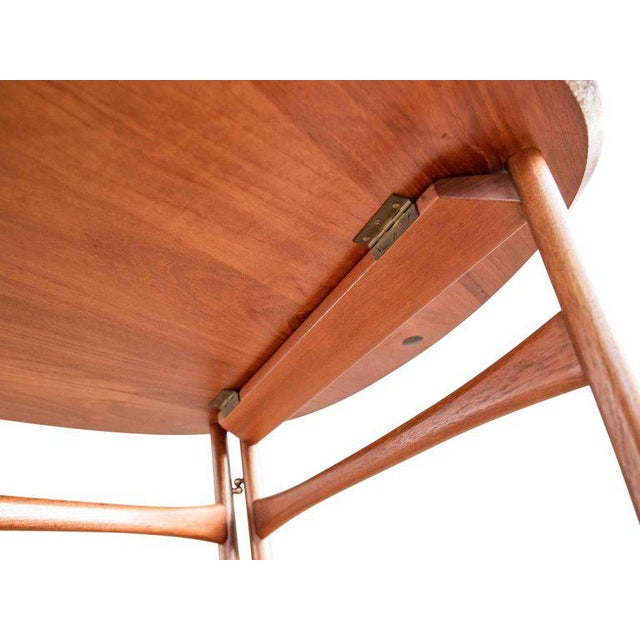 Brown Triangular Teak Folding Table by Peter Hvidt & Orla Mølgaard-Nielsen For Sale - Image 8 of 9