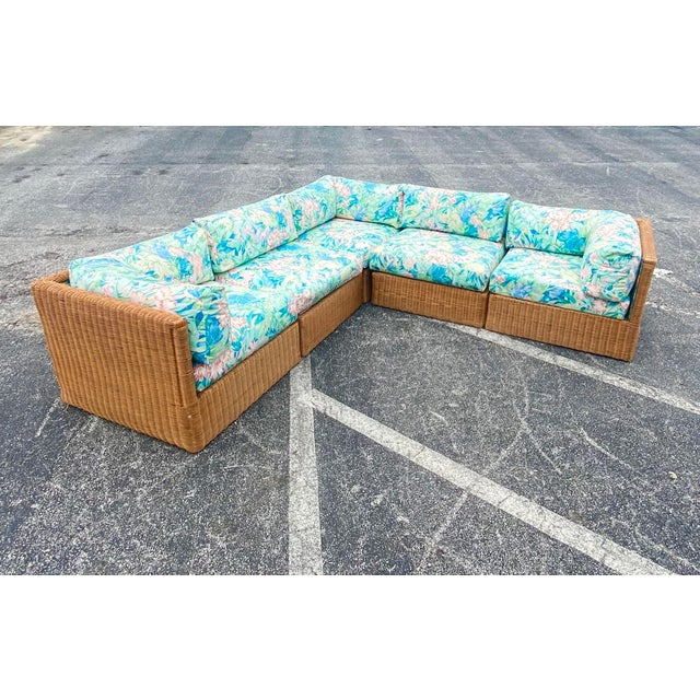 Chocolate Vintage Coastal Woven Rattan Printed Sectional For Sale - Image 8 of 13