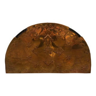 Contemporary Copper Arch Hammered Fireplace Screen For Sale