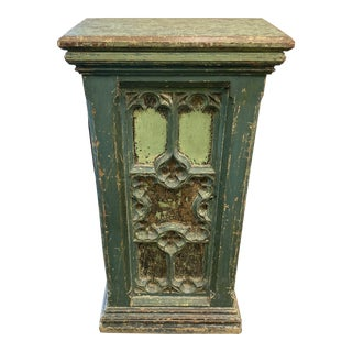 19th Century French Distressed Green Paint Pedestal For Sale