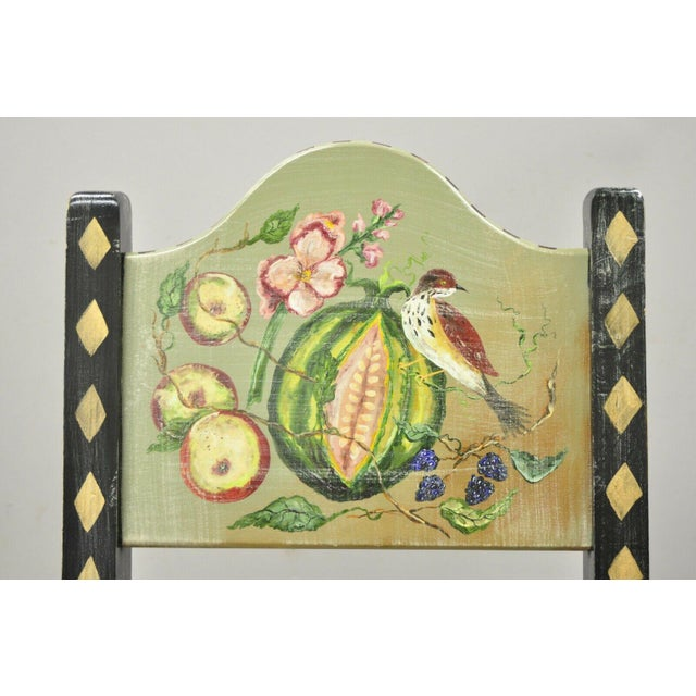 French Country Late 20th Century French Country Style Handpainted Fruit Bird Butterfly Side Chair For Sale - Image 3 of 11