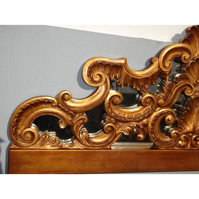 Vintage French Provincial Louis XVI Rococo Gold King Headboard Mirror & Scrolls For Sale In Los Angeles - Image 6 of 13
