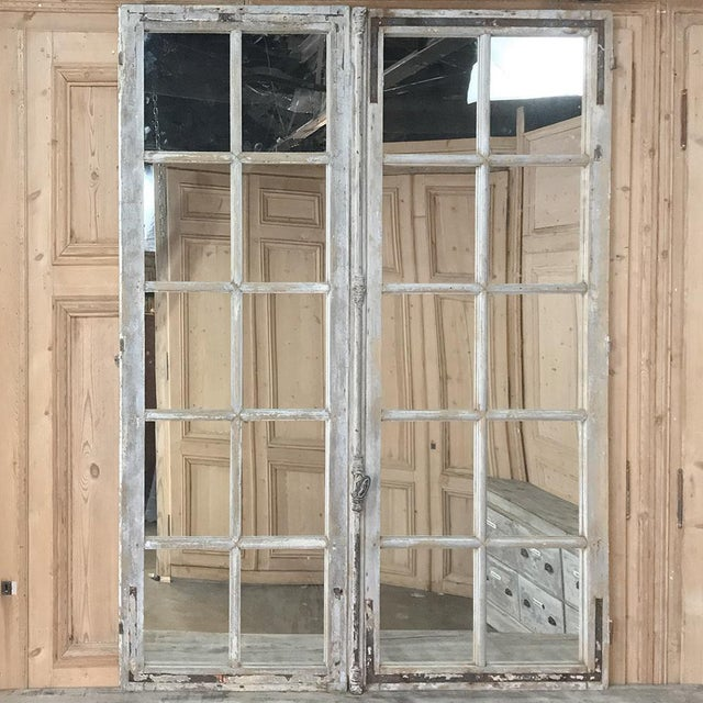Rustic Pair 19th Century Mirrored Window Frames For Sale - Image 3 of 12