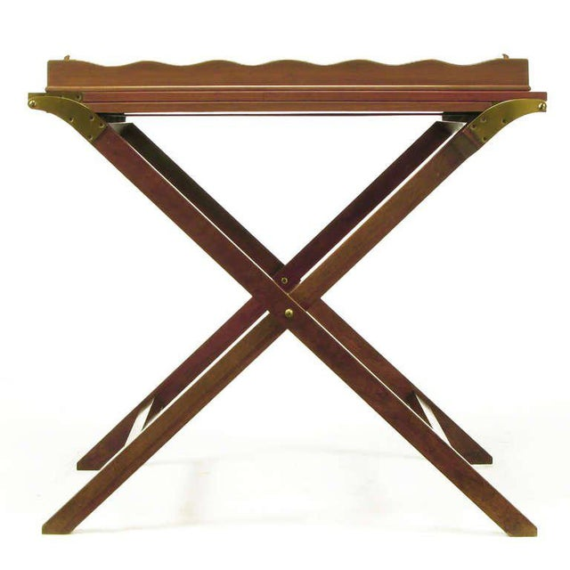 1950s Baker Serving Table with Removable Tray and Butterfly Top For Sale - Image 5 of 9
