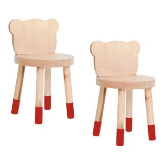 Nico & Yeye Baba Kids Chair Solid Maple Red - Set of 2 For Sale